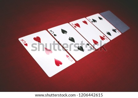 Cards for poker on a red background, Two Pairs 2 Pair . #1206442615