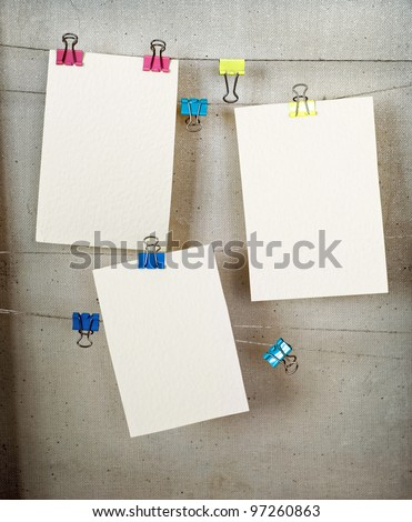 Cards hang on a clothesline on a rope