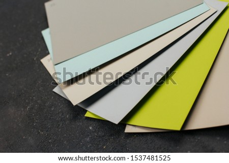 Cards of color swatches for interior paint.
