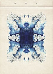 Cards of rorschach inkblot test. Blue watercolor symmetric blotch. Abstract painting on old paper. Vintage style.