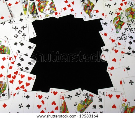 cards on black background
