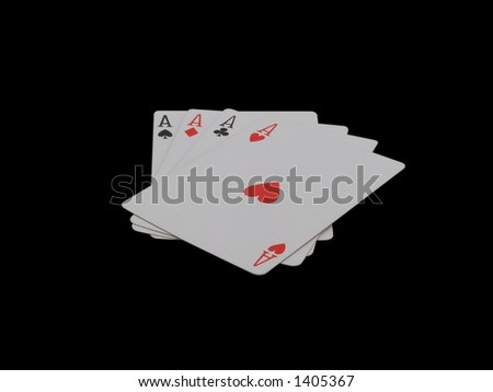 cards on isolated black