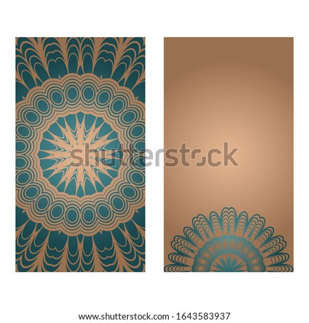 Cards Or Invitations Set With Mandala Ornament.  Illustration. For Wedding, Bridal, Valentine's Day, Greeting Card Invitation