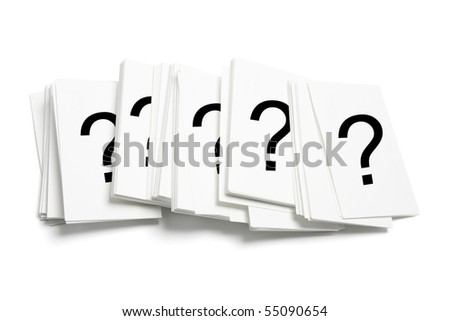 Cards with Question Marks on White Background