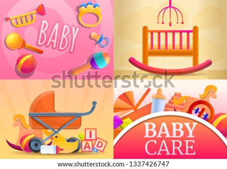 Care baby items banner set. Cartoon illustration of care baby items banner set for web design