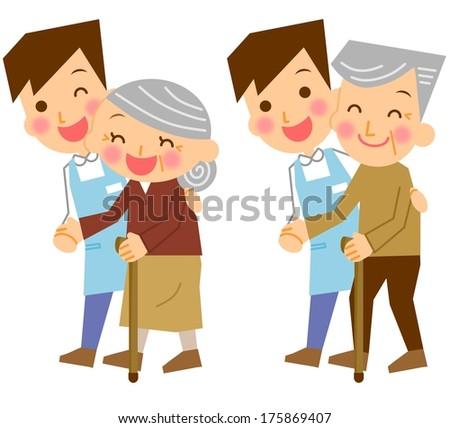 Care caregiver senior cane