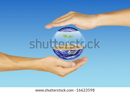 Care for the earth-Earth and the hand