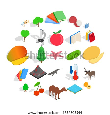 Care of flora icons set. Isometric set of 25 care of flora icons for web isolated on white background