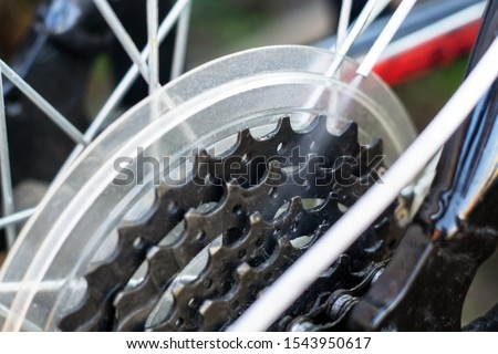 care of the bike lubrication of parts. Cleaning and lubricating the bicycle chain and gearbox with oil spray. #1543950617