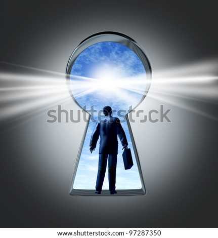 Career and job opportunities with a key hole symbol of a new business opportunity and a business person with a briefcase entering a new employment or financial market for success and profit.
