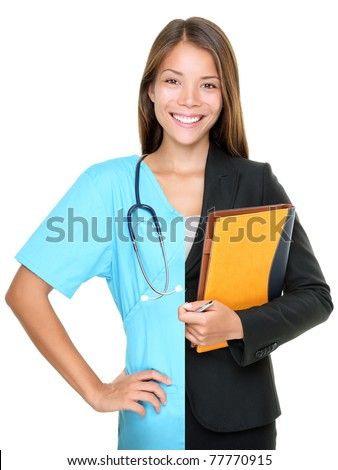 Career choice concept. Woman split half and half in businesswoman and medical doctor / nurse. Young smiling woman isolated on white background