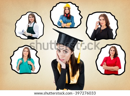 Career choice options over paper texture background.