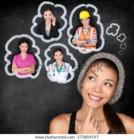 Career choice options - student thinking of future education. Young Asian woman contemplating career options smiling looking up at thought bubbles on a blackboard with images of different professions #173804597