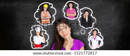 Career choice options student thinking of future job choosing college education for work. Young Asian woman dreaming of choices looking up at thought bubbles on blackboard with different professions.