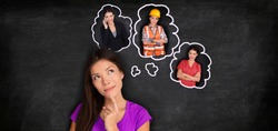 Career choice student thinking of choosing future job employement options banner panorama. Asian girl dreaming of different education paths at college degree.