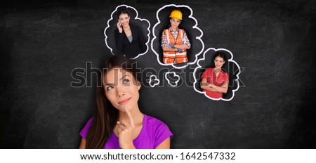 Career choice student thinking of choosing future job employement options banner panorama. Asian girl dreaming of different education paths at college degree. Stockfoto ©