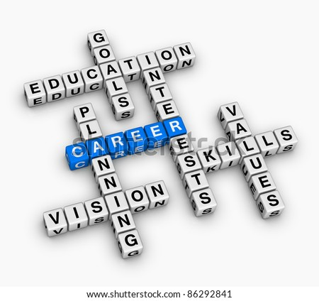 career crossword puzzle (job search concept)