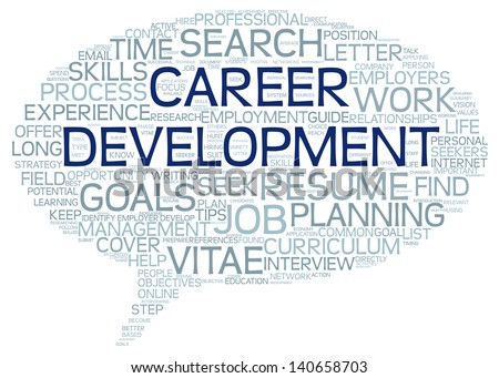 Career development in word tag cloud on white - stock photo
