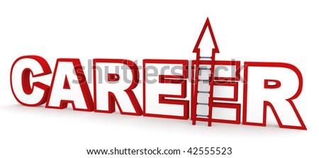 Career Ladder. Career concept in 3D, depicting climbing up a career ladder.