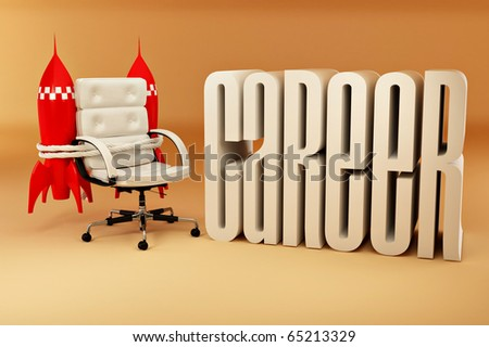 Career opportunities. Office armchair with rockets.3d