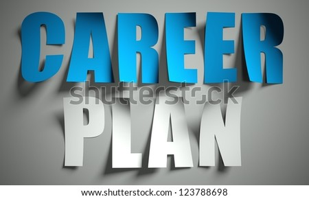Career plan hour cut from paper, background