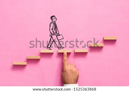 Career Planning and Challenge Concept. Businessman Getting Help Achieving Goals.