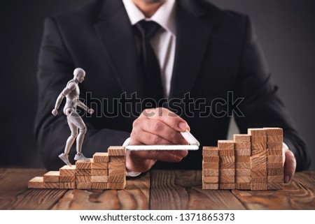Career Planning Concept. Businessman Getting Help Achieving Goals. #1371865373