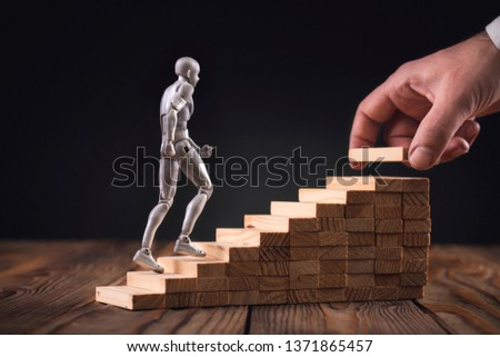 Career Planning Concept. Businessman Getting Help Achieving Goals. #1371865457