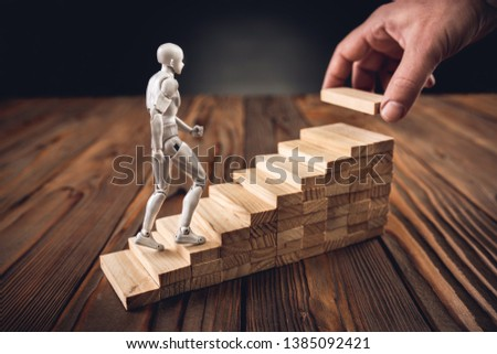 Career Planning Concept. Businessman Getting Help Achieving Goals. #1385092421