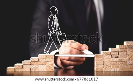Career Planning Concept. Businessman Getting Help Building Bridges To Success. #677861017