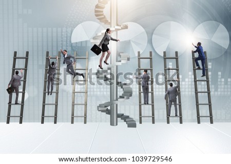 Career progression concept with ladders and staircase #1039729546