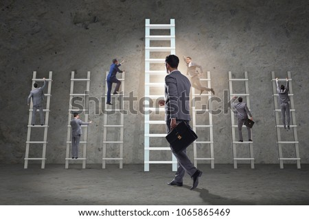 Career progression concept with various ladders #1065865469