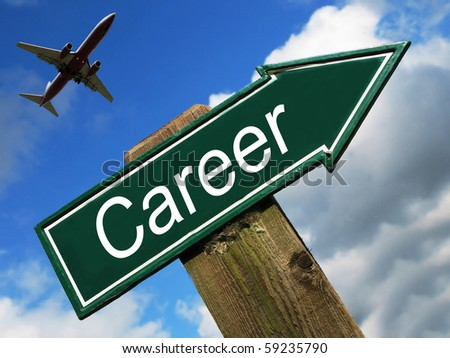 Career road sign - stock photo
