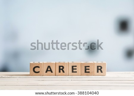 Career sign on a wooden desk in an office #388104040