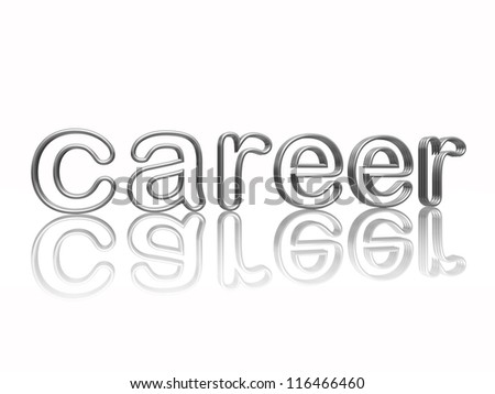 career text in 3d isolated silver metal wire letters with reflection