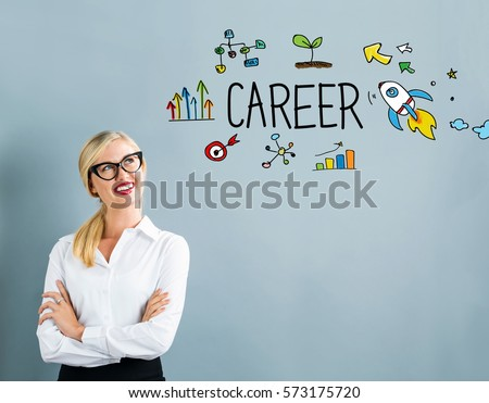 Career text with business woman on a gray background
