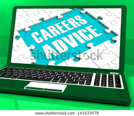Careers Advice Laptop Showing Employment Guidance And Assistance