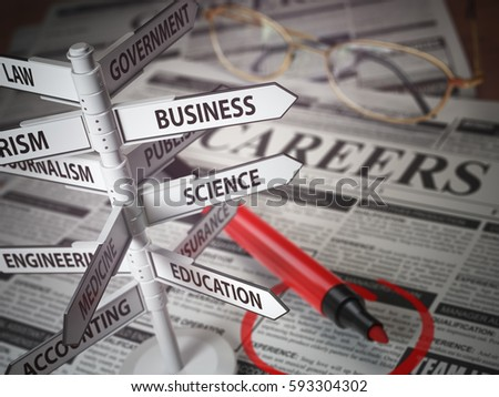 Careers direction fields, Jjob search concept, Newspaper with jobs advertisement and signboard with field of careers. 3d illustration