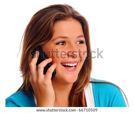 Carefree cell phone teenager isolated on white