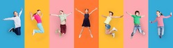 Carefree Children Jumping Posing Together Wearing Casual Clothes On Colorful Studio Backgrounds. Collage With Happy Preteen Boys And Girls Jump In A Row. Childhood Fashion Concept. Panorama