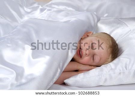 Carefree sleeping little boy