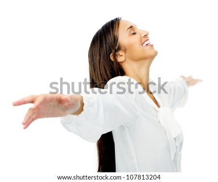 Carefree woman is stress free and holds her arms out for freedom and peace of mind. isolated on white background.