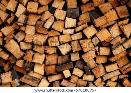 Carefully laid logs of firewood. Background #670180957