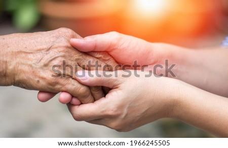 Caregiver, carer hand holding elder hand in hospice care. Philanthropy kindness to disabled concept. Stock photo ©