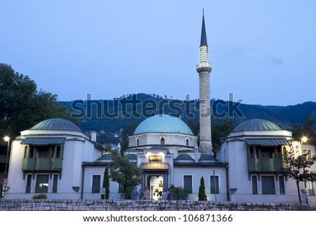 Careva Dzamija (Emperor's Mosque) at dusk, first mosque built in Sarajevo, Bosnia and Herzegovina