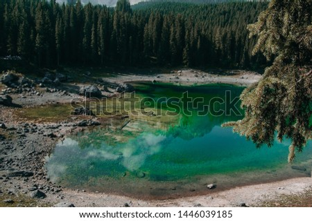 Carezza lake in Italy. Lago di Carezza. #1446039185