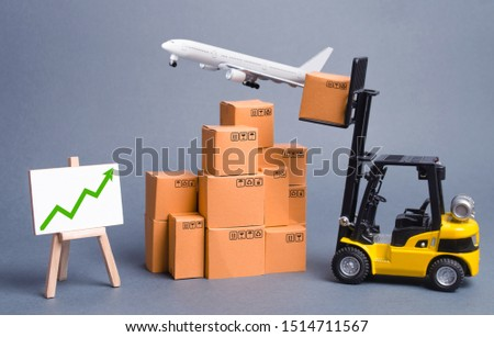 Cargo airplane, forklift truck with cardboard boxes and green arrow up. Increase freight transportation and delivery volumes of products goods. orders growth and throughput of transport infrastructure
