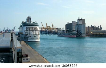 cargo and passenger port in Barcelona, Spain - stock photo