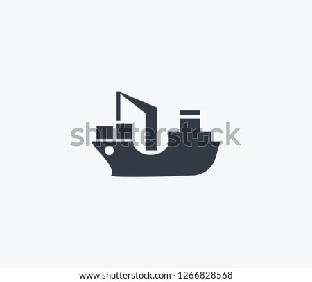 Cargo barge icon isolated on clean background. Cargo barge icon concept drawing icon in modern style.  illustration for your web mobile logo app UI design.
