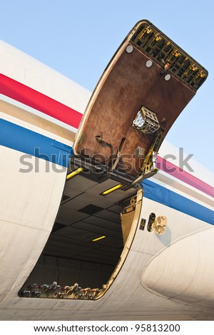 Cargo compartment door of an airplane at the airport